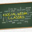 Green chalkboard - Social media classes. — Stock Photo