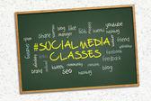 Green chalkboard - Social media classes. — Stock Photo