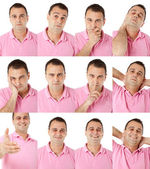 Male portrait different face expressions — Stock Photo