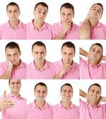Expressões masculinos no telefone — Fotografia Stock