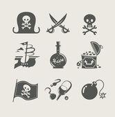 海賊アイコンのアクセサリー セット — ストックベクタ