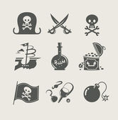 Piraci zestaw akcesoriów ikony — Wektor stockowy