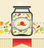 Can with canned vegetables. food background — Vetor de Stock