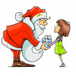 Santa Claus give gift to girl — Stock Vector