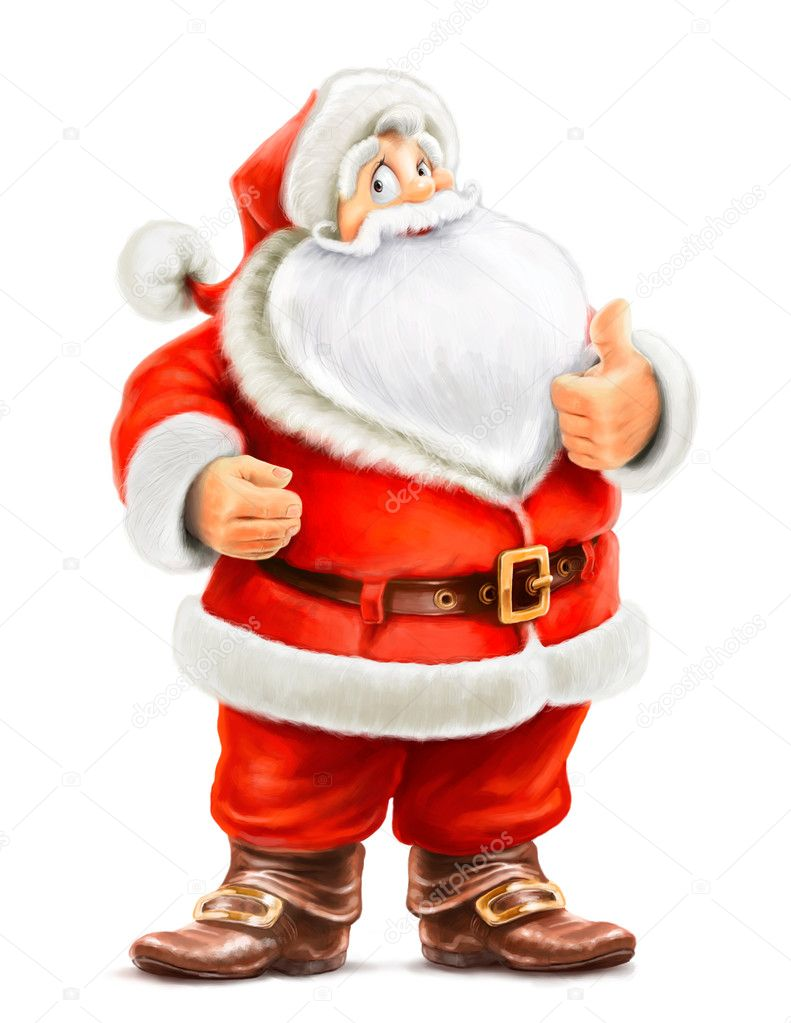 Santa Claus show ok isolated on white background — Stock Photo #13761624