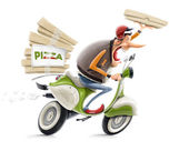 Man delivering pizza on bicycle — Stock Photo