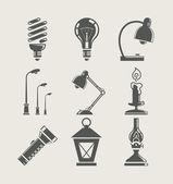 Ampoule et dispositif d'éclairage. icon set — Vecteur