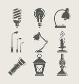 Light bulb and lighting appliance. set icon — Vecteur
