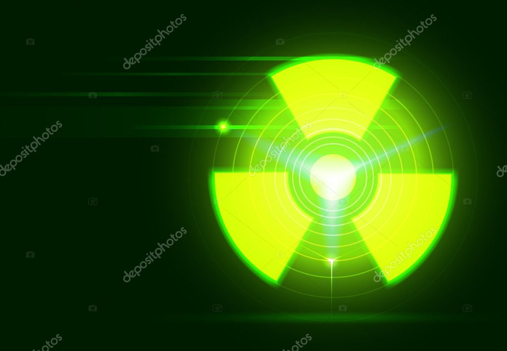 Vector bio-hazard symbol on dark green background, transparency and gradient mesh used — Stock Vector #11742860