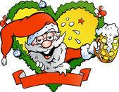 Hand-drawn Vector illustration of an drunk santa — Stock Vector