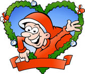 Ilustracja wektorowa rysowane ręcznie szczęśliwy chłopiec santa — Wektor stockowy
