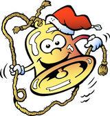 Handritade vektor illustration av en glad jul-bell — Stockvektor