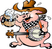 Hand-drawn Vector illustration of an pig playing banjo — Stock Vector