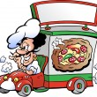 Hand-drawn Vector illustration of an Italien pizza dilevery car - Stock Vector