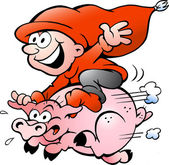 Hand-drawn Vector illustration of elf riding on a pig — Stock Vector