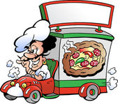 Hand-drawn Vector illustration of an Italien pizza dilevery car — Stock Vector