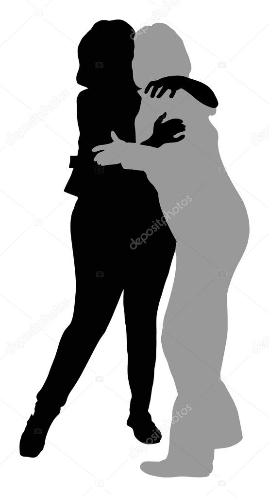 Silhouette of of two female friends, black and gray  Stock Vector #10949483