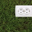Stock Photo: Electric power receptacle on a green grass background
