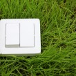 Stock Photo: Light switch on a green grass background