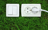 Power receptacle and light switch on a green grass — Stok fotoğraf