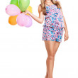 Cute teenage girl holding balloons on white — Stock Photo #11494238