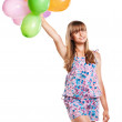 Cute teenage girl holding balloons on white — Stock Photo #11504711