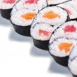 Set of rolls with a salmon and eel isolated — Stock Photo