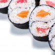 Set of rolls with a salmon and eel isolated — Stock Photo #12160073