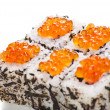 Japanese sushi with caviar on a white background — Stock Photo