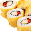Tempura Maki Sushi or Deep Fried Roll with Paprika — Stock Photo