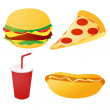 Fast food set vector — ストック写真