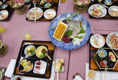 Japanese dishes after dinner — Stock Photo