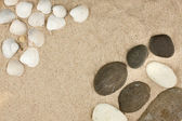 Sea shells,stones with sand as background — Stock Photo