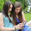 Stock Photo: Girls using a tablet pc