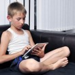 Stock Photo: Boy using a tablet pc