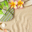 Green Sandals, seashells, starfish and frangipani on sand — Stock Photo