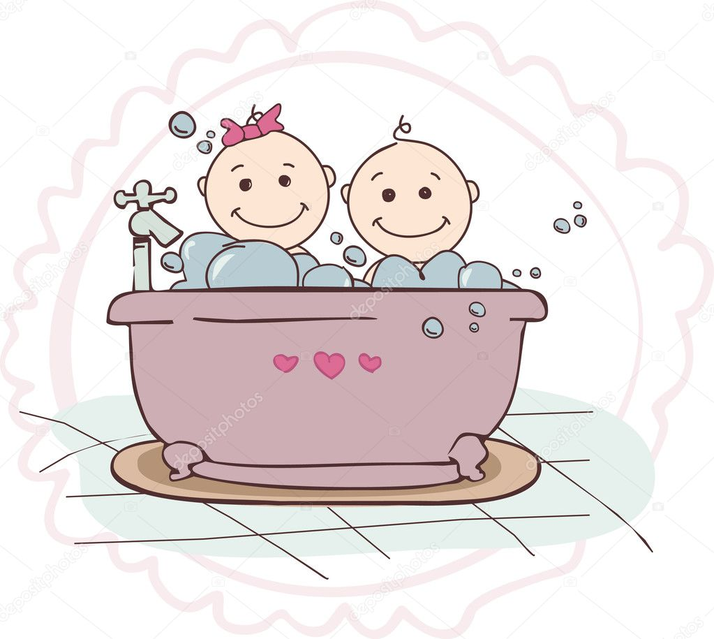 A boy and a girl bathing in bathtub  — Stock Vector #11587318
