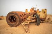 Rusted Military Anti-Tank Cannon Gun — Stock Photo