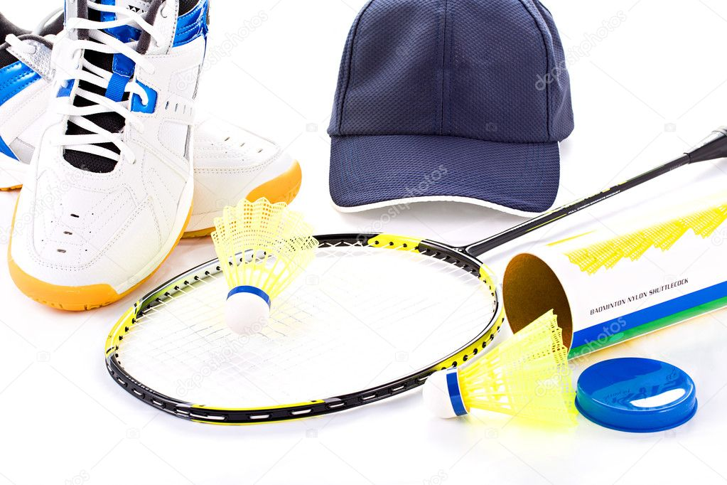 Badminton Equipment Containing Shoes, Racket, Cap, and Shuttlecock — Stock Photo #11991971