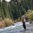 Fisherman fly fishing — Photo