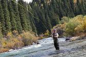 Pesca con mosca pescador — Foto de Stock