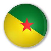 フランス領ギアナの旗とバッジします。 — ストック写真