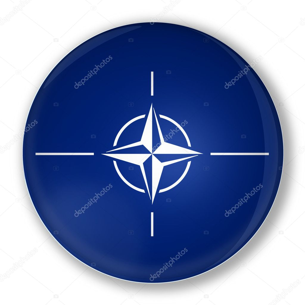 Illustration of a badge with flag of North Atlantic Treaty Organization NATO — Foto Stock #11034769