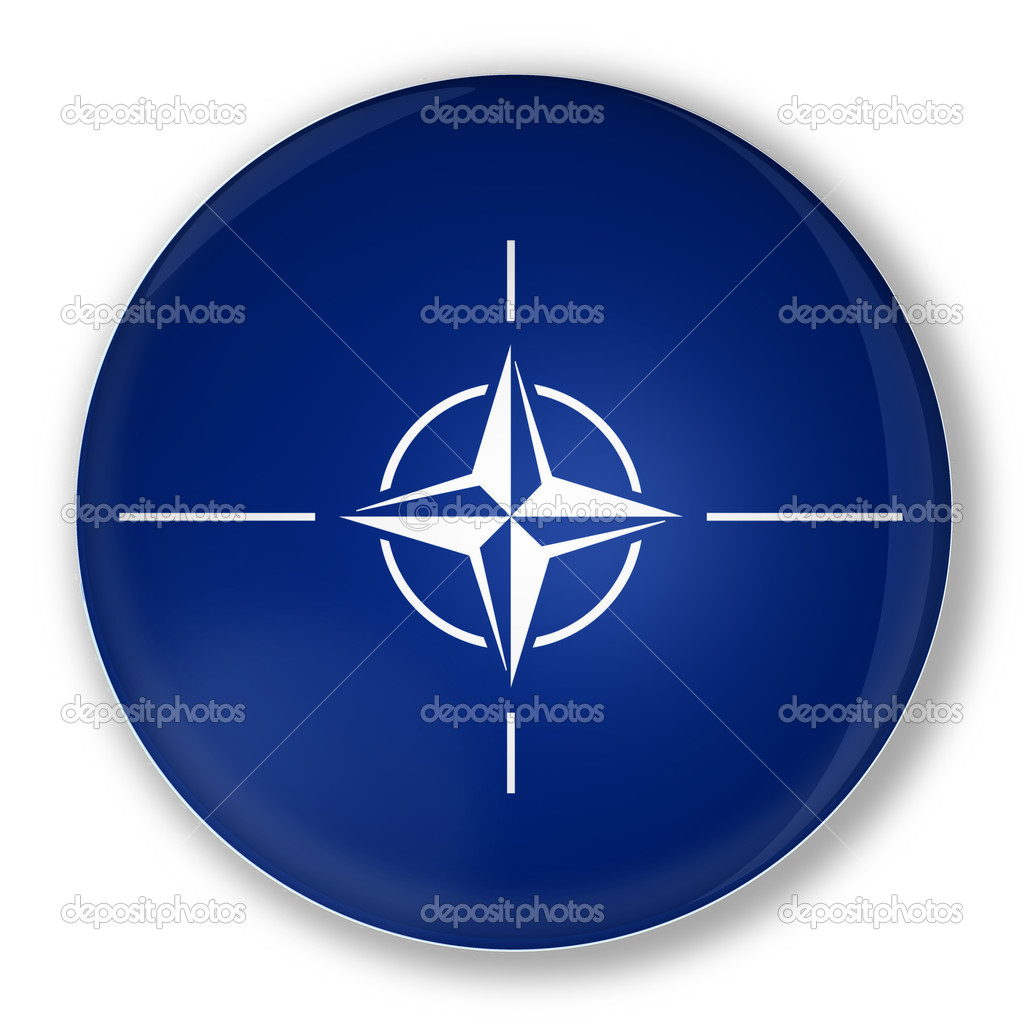 Illustration of a badge with flag of North Atlantic Treaty Organization NATO  Foto de Stock   #11034769