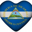 Heart with flag of Nicaragua — Stock Photo