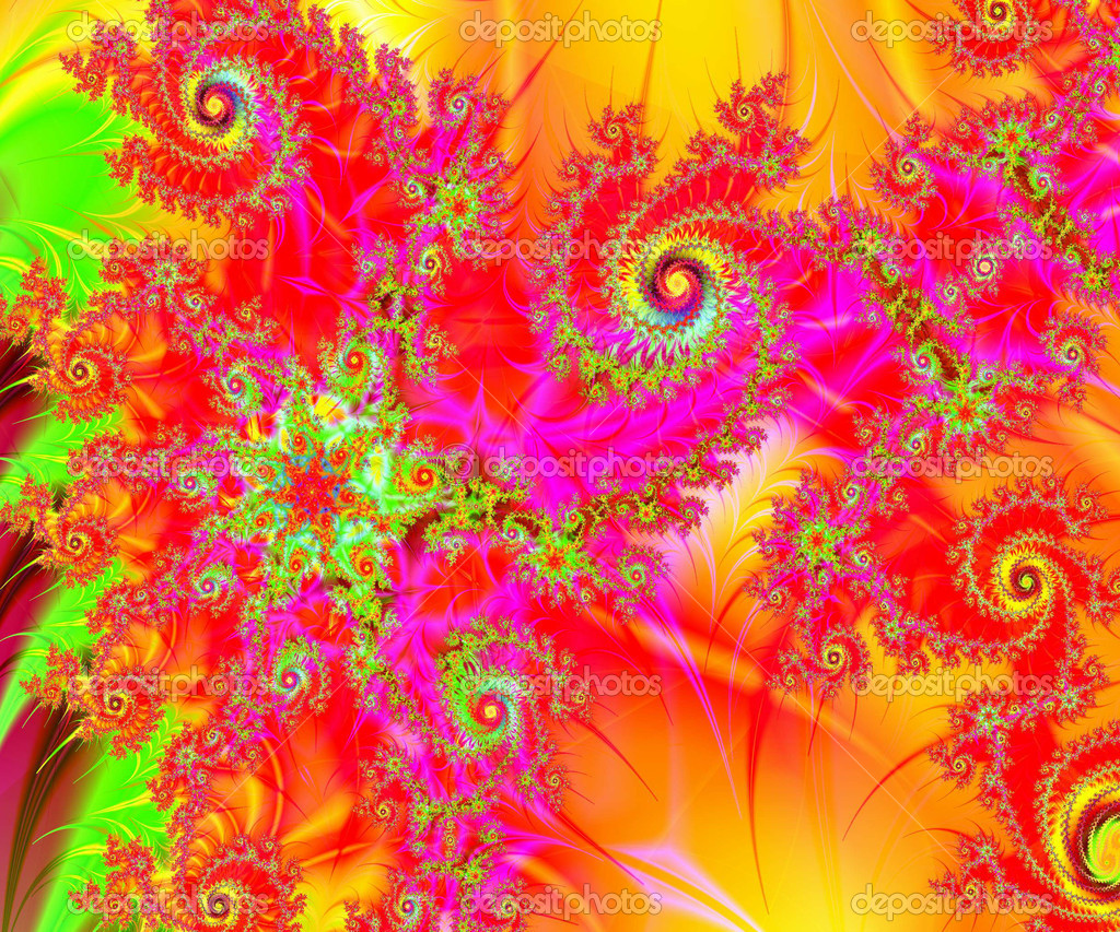 A rich and colorful spiral swirls fractal collage. Digital art creation. — Stock Photo #11480337