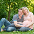 Pregnant couple in the park — Stock Photo #11526076