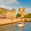 Stock Photo: Seine river and Notre Dame cathedral