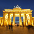 图库照片: Brandenburg gate at night