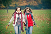 Two young woman walking in autumn park — Stock Photo